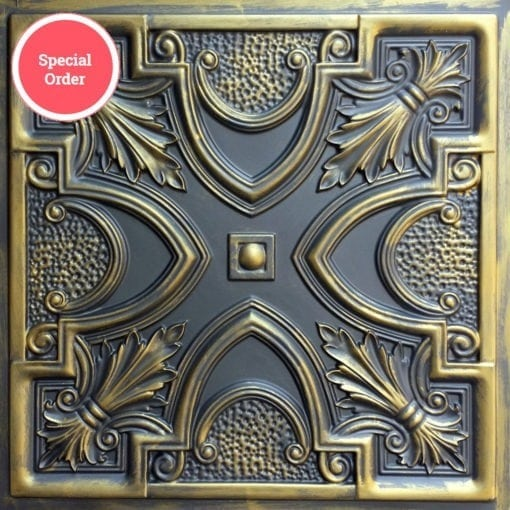 TD11 Faux Tin Ceiling Tile - Aged Gold