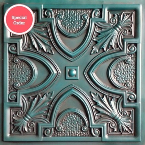 TD11 Faux Tin Ceiling Tile - Aged Turquoise