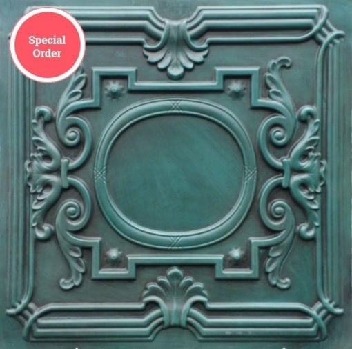 TD15 Faux Tin Ceiling Tile - Aged Turquoise