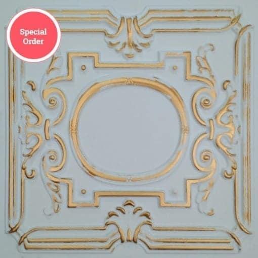 TD15 Faux Tin Ceiling Tile - White Matte Gold
