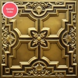TD16 Faux Tin Ceiling Tile - Aged Brass