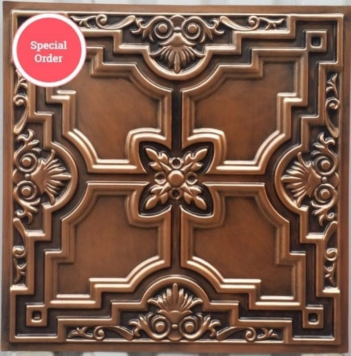 TD16 Faux Tin Ceiling Tile - Aged Copper