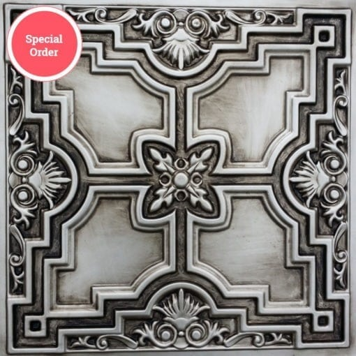 TD16 Faux Tin Ceiling Tile - Aged Silver
