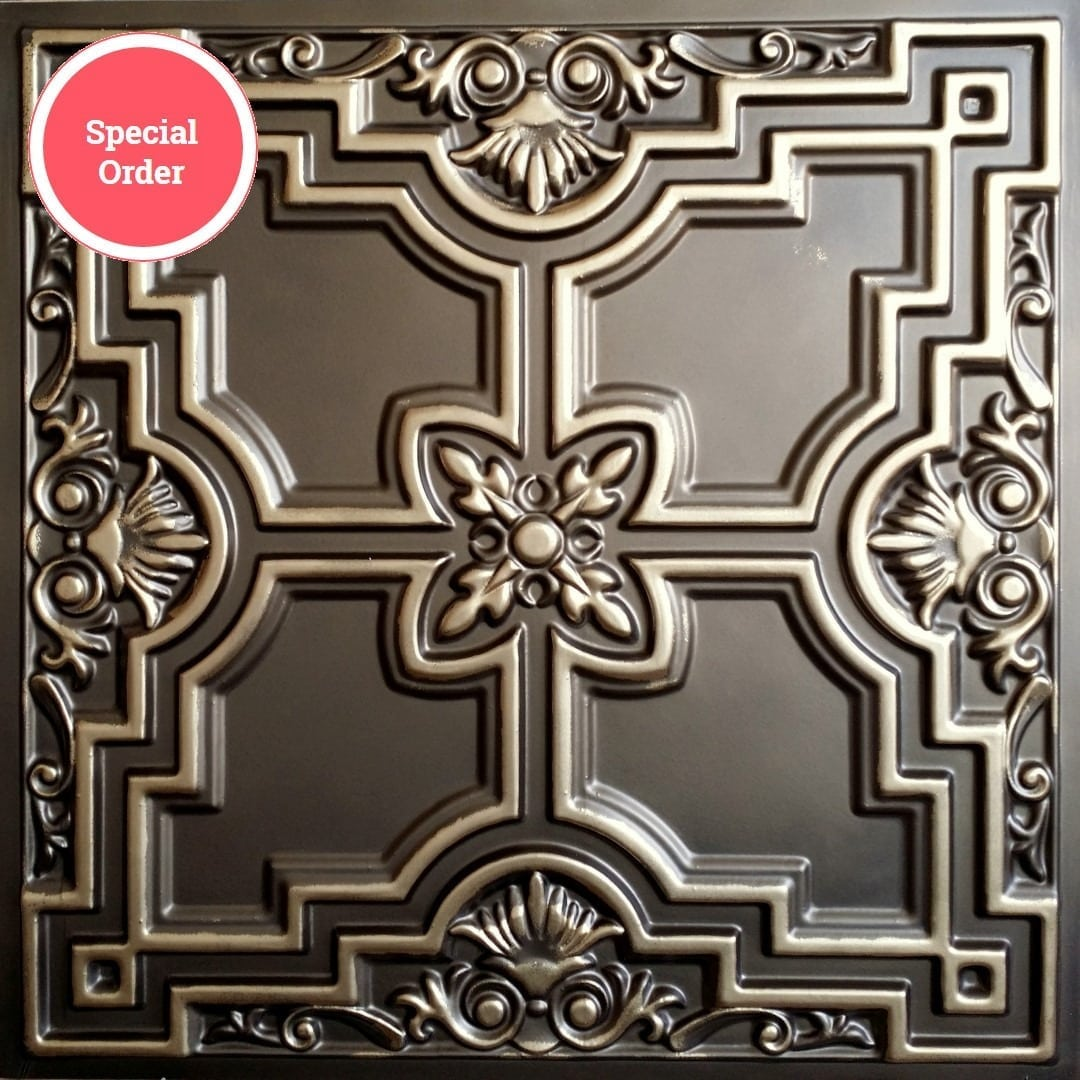 TD16 Faux Tin Ceiling Tile - Classic Aged Silver