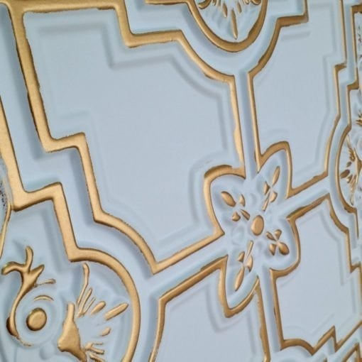 TD16 Faux Tin Ceiling Tile - White Matte Gold