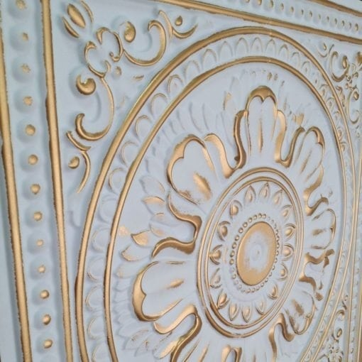 TD17 Faux Tin Ceiling Tile - White Matte Gold