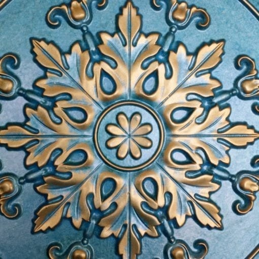 TD18 Faux Tin Ceiling Tile - Turquoise Gold
