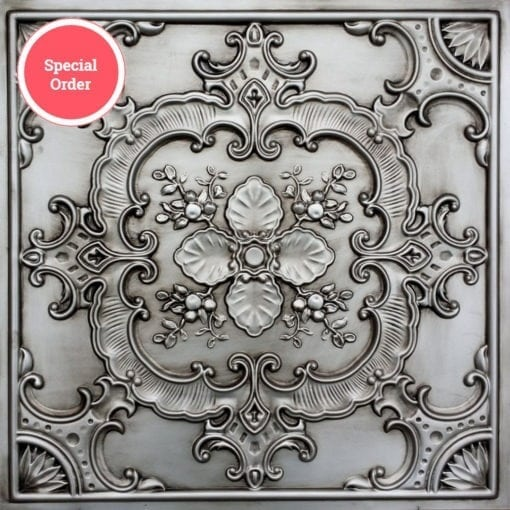 TD19 Faux Tin Ceiling Tile - Aged Silver