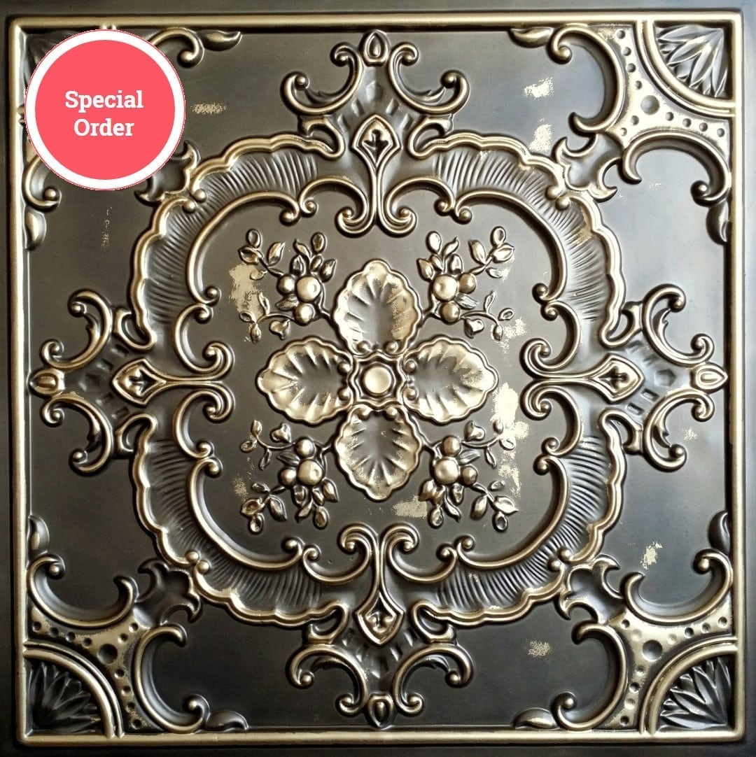 TD19 Faux Tin Ceiling Tile - Aged Copper