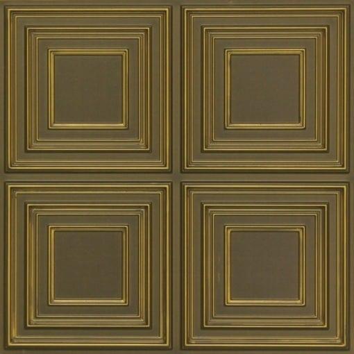259 Faux Tin Ceiling Tile - Antique Brass