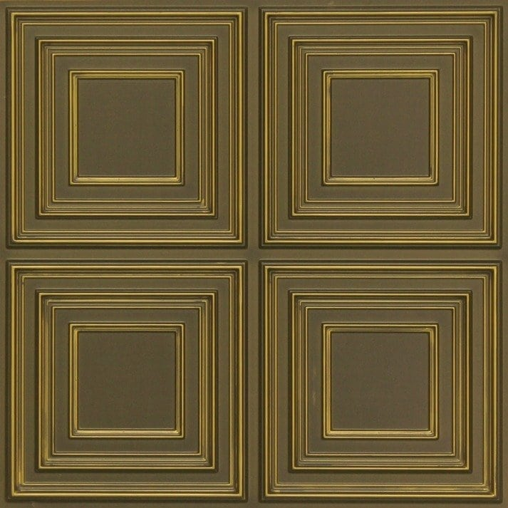 259 Faux Tin Ceiling Tile - Antique Brass