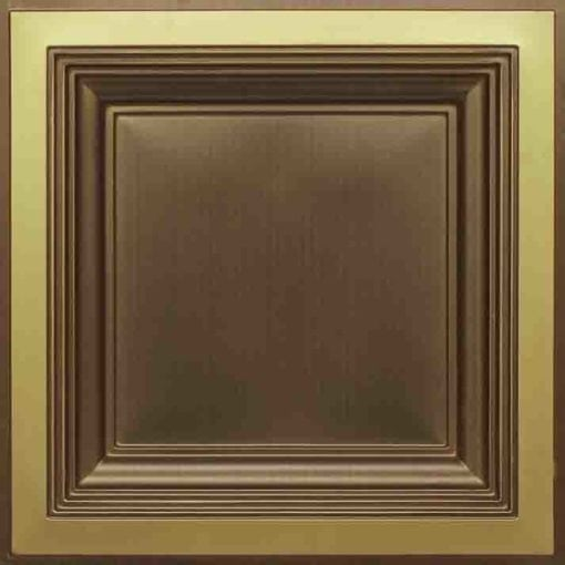 274  Faux Tin Ceiling Tile - Coffered - Antique Brass