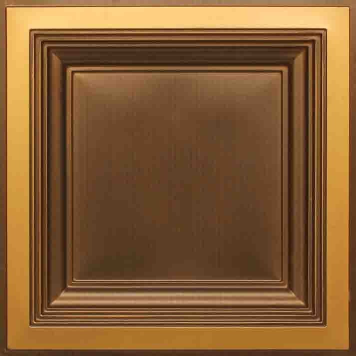 274  Faux Tin Ceiling Tile - Coffered - Antique Gold