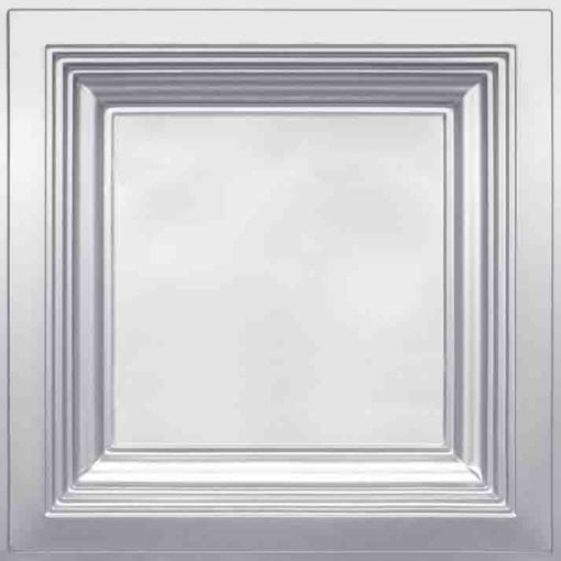274  Faux Tin Ceiling Tile - Coffered - Silver