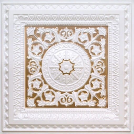 223 Faux Tin Ceiling Tile White Pearl-Gold