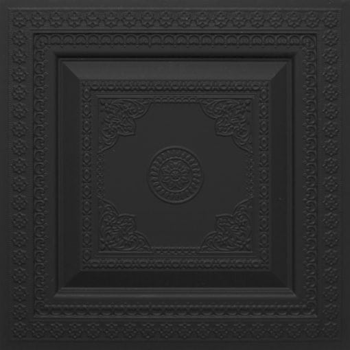 282 Faux Tin Ceiling Tile - Black Matte