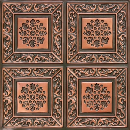 203 Faux Tin Ceiling Tile - Patina Copper