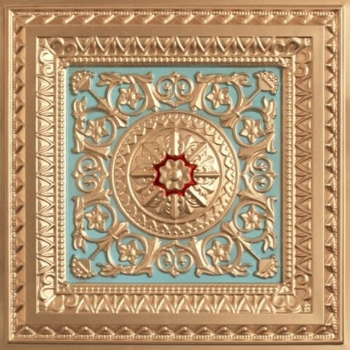 223 Faux Tin Ceiling Tile - Gold - Skyblue-Red