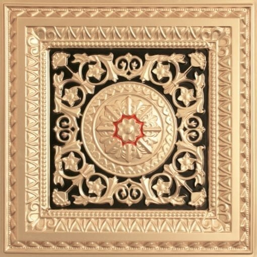 223 Faux Tin Ceiling Tile - Gold-Black