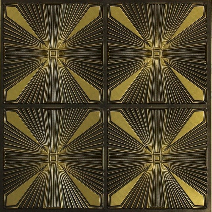 242 Faux Tin Ceiling Tile - Antique Brass