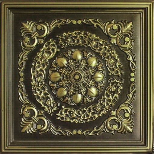 247 Faux Tin Ceiling Tile - Antique Brass