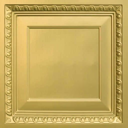 267 Faux Tin Ceiling Tile - Coffered - Brass