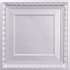267 Faux Tin Ceiling Tile - Coffered - Silver