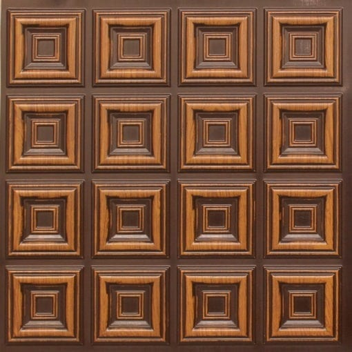 270 Faux Tin Ceiling Tile - Antique Teakwood