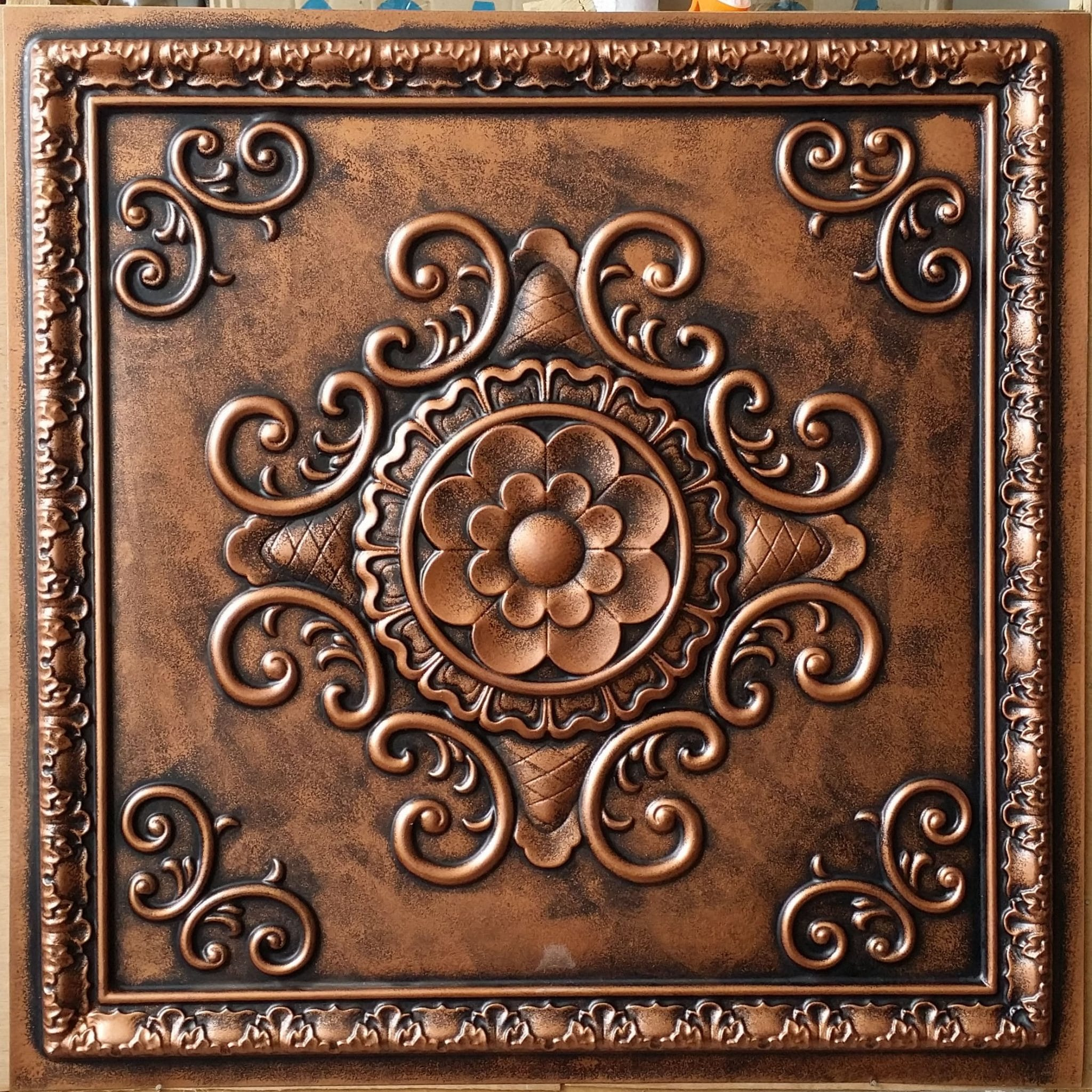 TD09 Faux Tin Ceiling tile - Anodized Copper