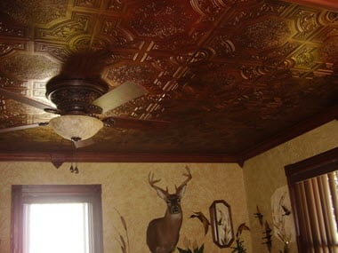 Living Room Faux Tin Ceiling Tile
