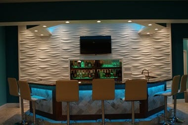 3d wall panels in restaurants and bars