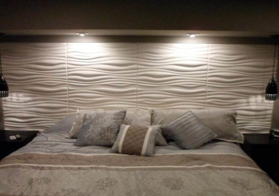 3D wall panels in bedroom