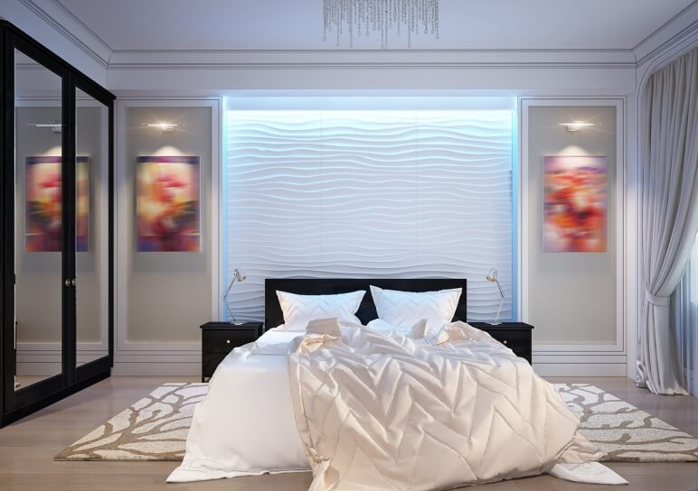modern bedroom with 3d panels