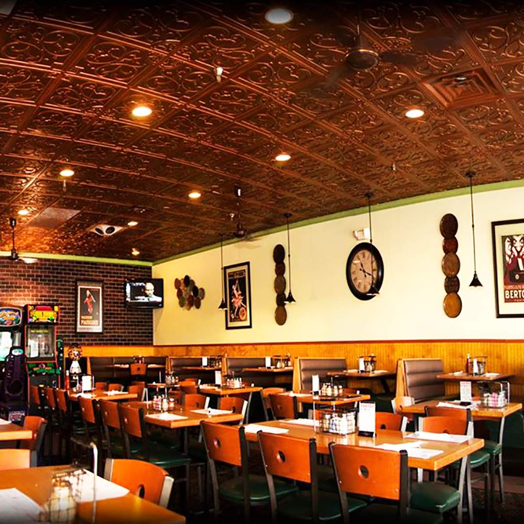 ceiling tiles in pizza places